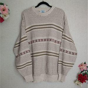 VTG Beige Chunky Knit Ribbed Trim Grandpa Sweater
